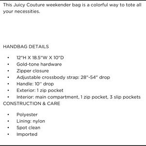 Juicy Couture Bags - JUICY COUTURE weekend bag